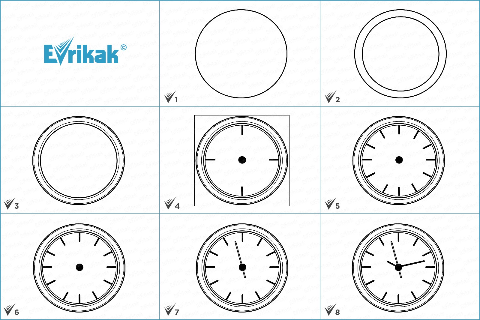 Collage of the stages of a clock drawing