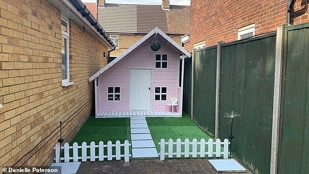 Creative Danielle made the fairy garden by using nine strips of artificial grass from Homebase which cost £4.95 each. Pictured, after the transformation