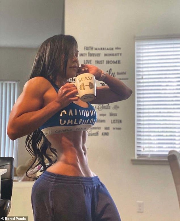 One fitness fanatic, with an already impeccable physique, appeared to have played around with the settings a little too much for this post on social media, leaving people wondering where she fits her organs