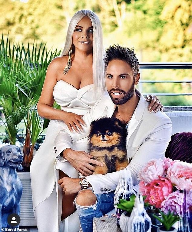 This couple are way past using editing apps for clearing up the odd spot or removing a stray hair from your face as they pose for a picture with their pet dog showcasing their
