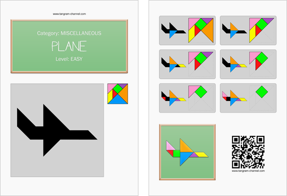 Tangram worksheet 58 : Plane - This worksheet is available for free download at http://www.tangram-channel.com