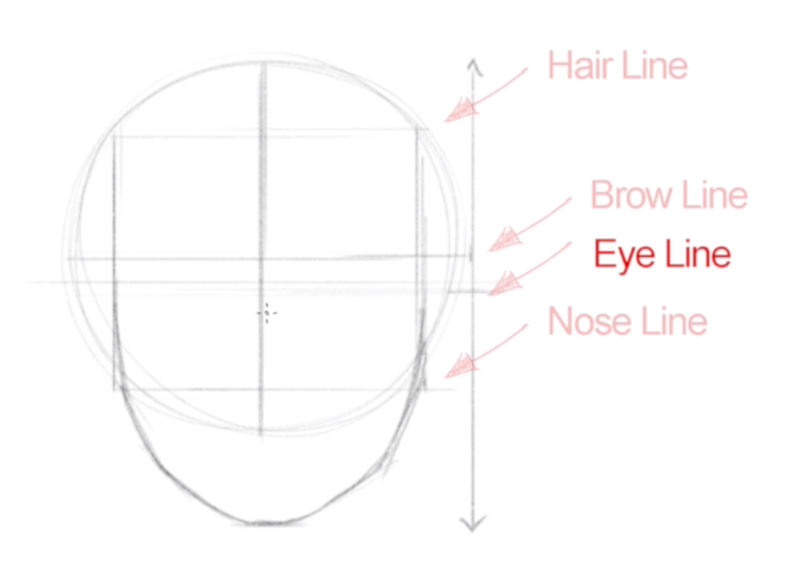 Drawing faces - step - 4 - Locate the eyes