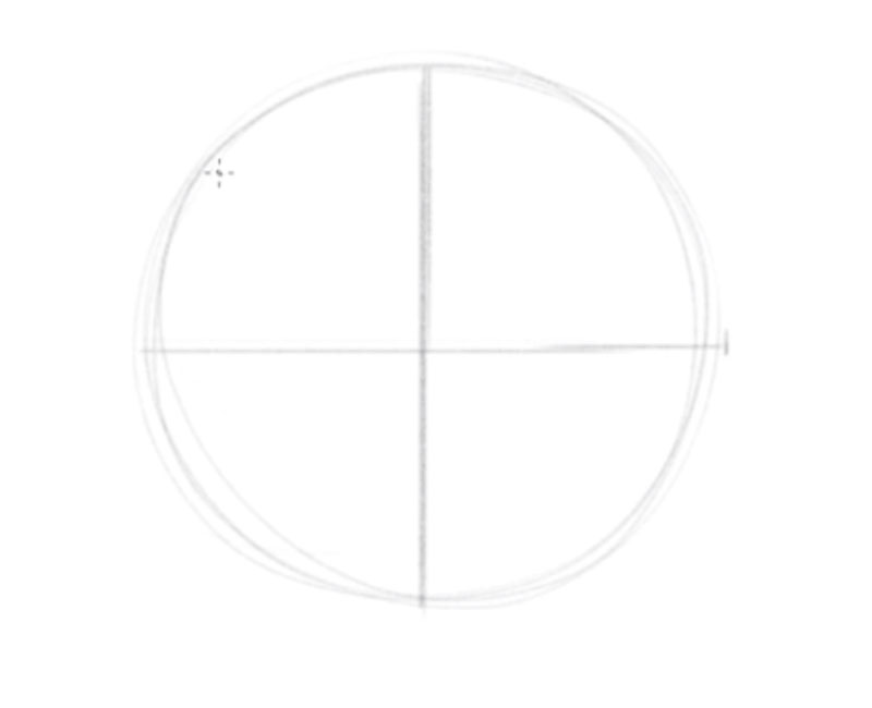 How to draw a faces - step - 1 - draw a circle and a cross