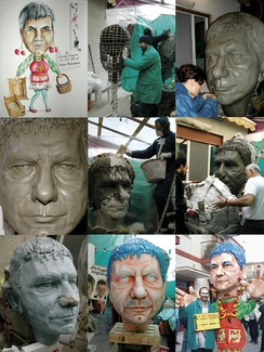 Building of a papier-mâché mask for the sculpture of Nichi Vendola, in the Carnival of Massafra