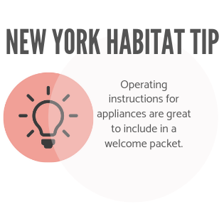 New York Habitat tip infographic advising owners to include appliance instructions in their welcome basket.